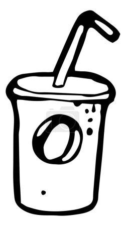 Illustration pour Milk shake en verre avec icône de paille. icône de la nourriture. Illustration vectorielle noir et blanc - image libre de droit