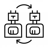 Robots exchange icon vector illustration