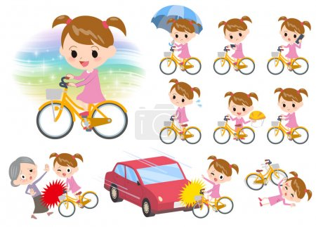 Pink clothing girl ride on city bicycle
