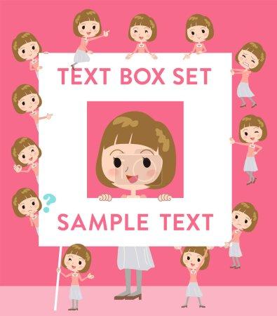 Straight bangs hair pink blouse women text box