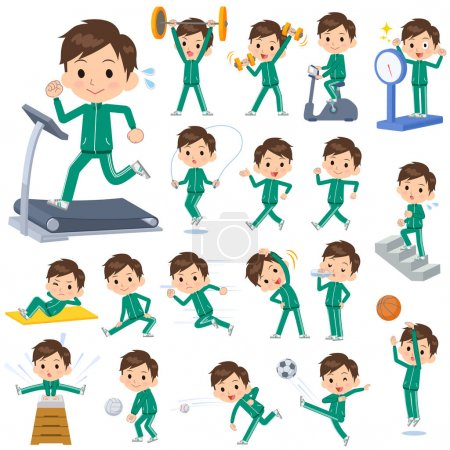 Illustration for Set of various poses of school boy Green jersey Sports & exercise - Royalty Free Image