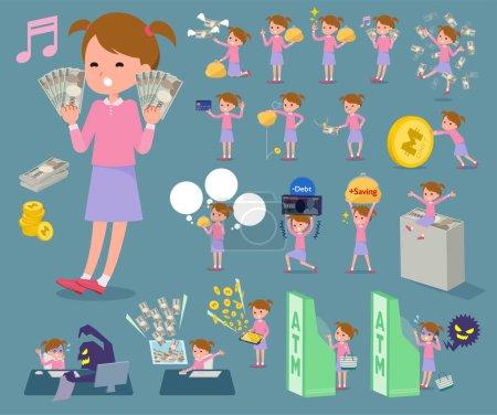 flat type Pink clothing girl_money