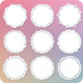 Set of various hand paint girly frame label 03