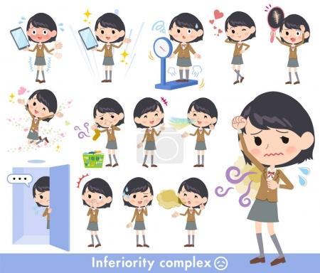 Illustration pour Écolière Brown Blazer _ complex - image libre de droit