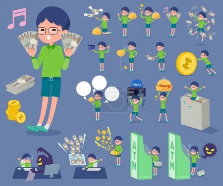 flat type Green clothing glasses boy_money