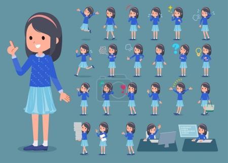 Illustration pour Plat type bleu vêtements bandeau fille _ 1 - image libre de droit