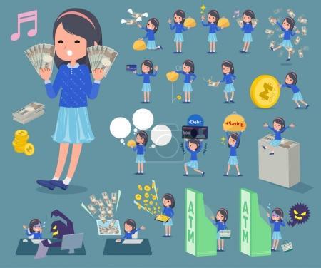 Illustration pour Plat type bleu vêtements bandeau fille _ argent - image libre de droit