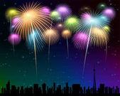 fireworks Townscape back image illustration