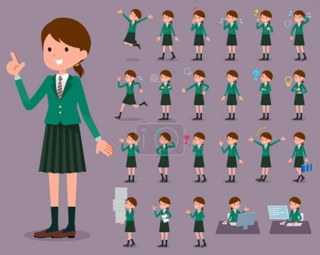Illustration for Flat type school girl Green Blazer_1 - Royalty Free Image