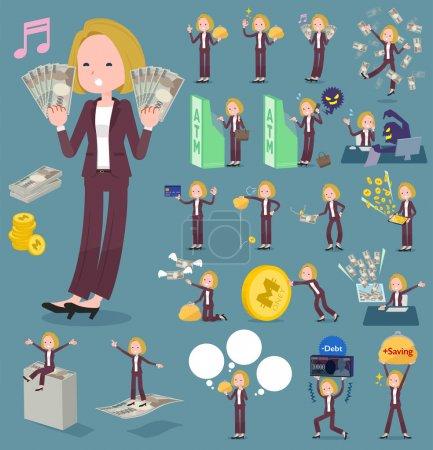 flat type blond hair business women_money