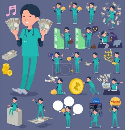 flat type surgical operation green wear men_money