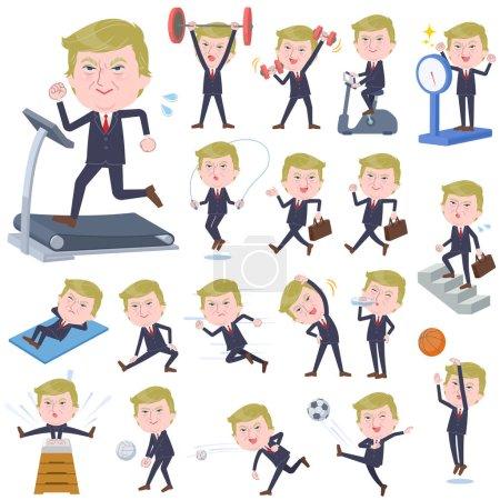 Illustration pour Un ensemble d'hommes Donald Trump caricature sur l'exercice et les sports.There sont diverses actions pour déplacer le corps sainy.It est vecteur de l'art donc il est facile à éditer - image libre de droit