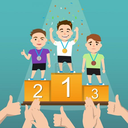 Illustration for Awards ceremony. Three athletes with medals on a pedestal. Winners podium. the emotions of the winners. Vector illustration of a flat design - Royalty Free Image
