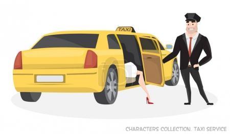 Illustration pour Taxi VIP avec chauffeur et passager dans le style Cartoon. Livraison du service de taxi de passagers. Une femme sort du taxi. Chauffeur de taxi ouvre la porte au passager . - image libre de droit