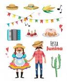 Festa Junina - Brazil June Festival Folklore Holiday Characters Vector set