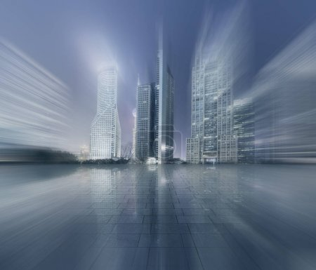 Photo for Urban road and building skyline - Royalty Free Image