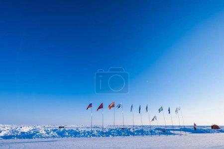 Photo pour Camp Barneo au pôle nord neige plaine forme de cube de neige flocons de neige lignes gros plan - image libre de droit