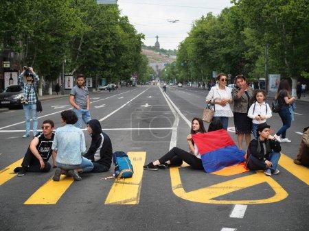 Yerevan, Armenia. April 29, 2018. Peaceful democratic protest in Armenia.Horizontal
