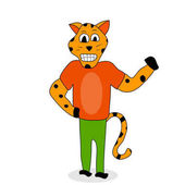 Jaguar animal character Spotted jaguar or leopard wildlife cheetah cartoon vector illustration