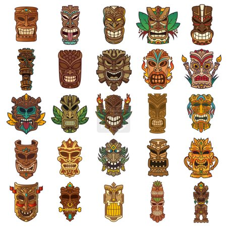 Tiki head set designed in different colors...