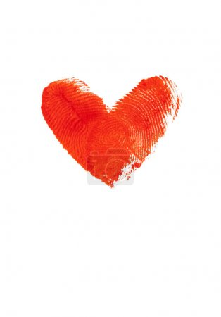 The fingerprints in the form of heart on white background