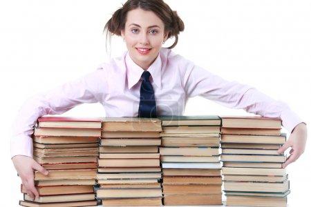 Bildung und Schulkonzept - lächelndes kleines Studentenmädchen mit