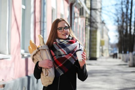 Girl on a walk in sunny weather