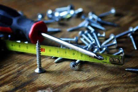 screws and screwdriver stack
