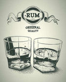 Two glasses of alcohol and rum logotype