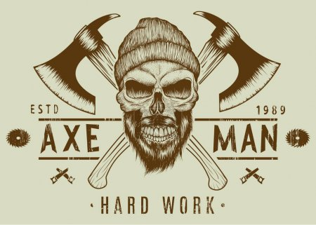 Illustration for Lumberjack bearded skull with two axes hand drawn vector illustration.T-shirt design - Royalty Free Image