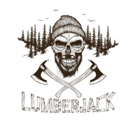 Illustration for Bearded skull-lumberjack with two axes.Dotwork.Hand drawn illustration - Royalty Free Image