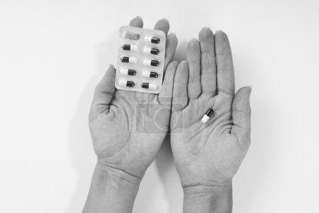 Medicine pills or capsules in hands