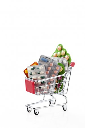 Drugs and pills in supermarket trolley