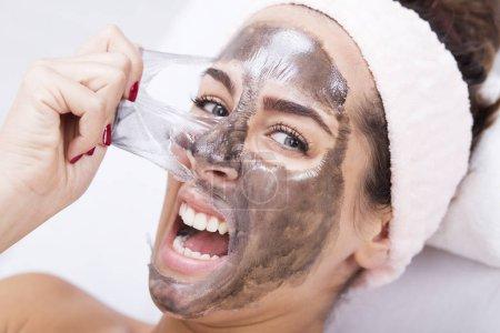 woman screaming at the spa