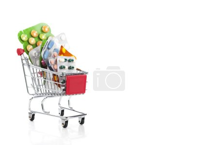 Colorful drugs and pills in a shopping cart