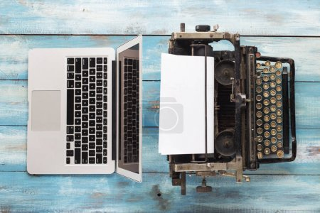 Photo for Old typewriter and laptop. Concept of technology progress - Royalty Free Image