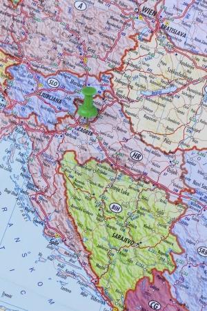 Green push pin pointing at Zagreb