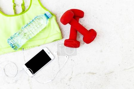Top view of fitness accessories
