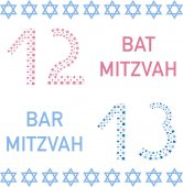 Bat mitzvah and bar mitzvah 12 and 13 years old Vector illustration