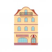 Old building in European style Detailed facade Isolated vector illustration on white background