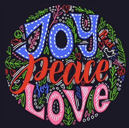 Illustration for Joy peace love. Vector hand written Christmas greeting card. Holiday invitation with hand lettering and floral wreath. Bright letters on a black background. - Royalty Free Image