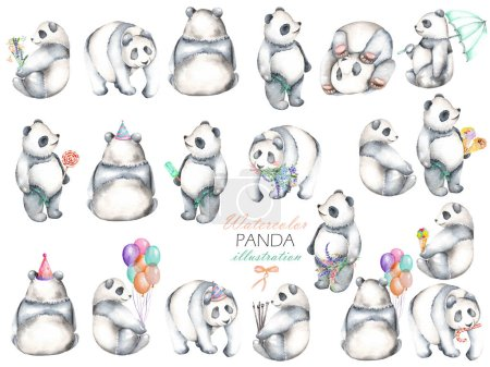 Photo pour Collection, ensemble d'illustrations de pandas aquarelle, dessiné à la main isolé sur un fond blanc - image libre de droit