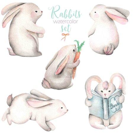 Photo pour Collection, ensemble d'illustrations de lapins mignons aquarelle, dessinée à la main isolée sur un fond blanc - image libre de droit