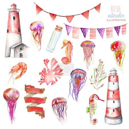 Foto de Conjunto de elementos acuarela el tema marino: Faro, medusas, banderas, caballitos de mar, algas y otros; pintado a mano aislada sobre fondo blanco - Imagen libre de derechos