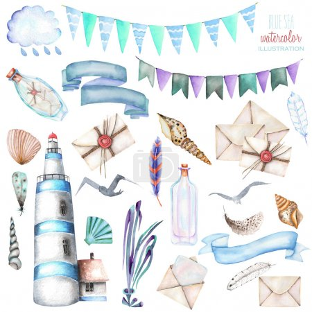 Foto de Conjunto de elementos acuarela el tema marino: Faro, conchas, banderas, gaviotas, cartas y otros; pintado a mano aislada sobre fondo blanco - Imagen libre de derechos