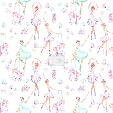 Seamless pattern with watercolor ballet dancers, puppet unicorns, butterflies and pointe shoes