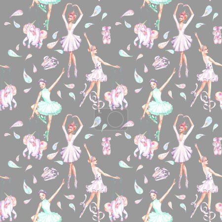 Seamless pattern with watercolor ballet dancers, puppet unicorns, feathers and pointe shoes