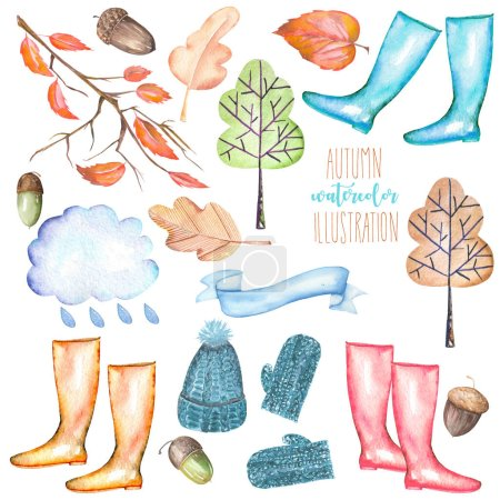 Photo for Collection, set of watercolor autumn objects (warm hat and mittens, rubber boots, rain cloud, dry tree leaves and other), hand drawn isolated on a white background - Royalty Free Image