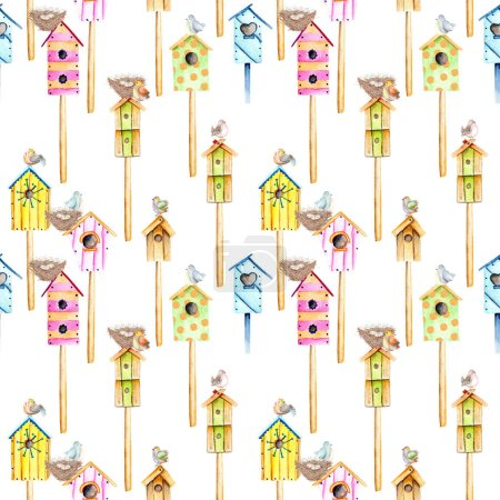 Seamless pattern with watercolor colorful birdhouses, cute birds and nests