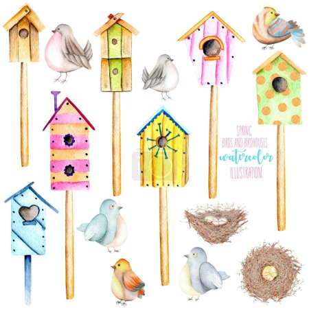 Set, collection of watercolor colorful birdhouses, cute birds and nests illustrations